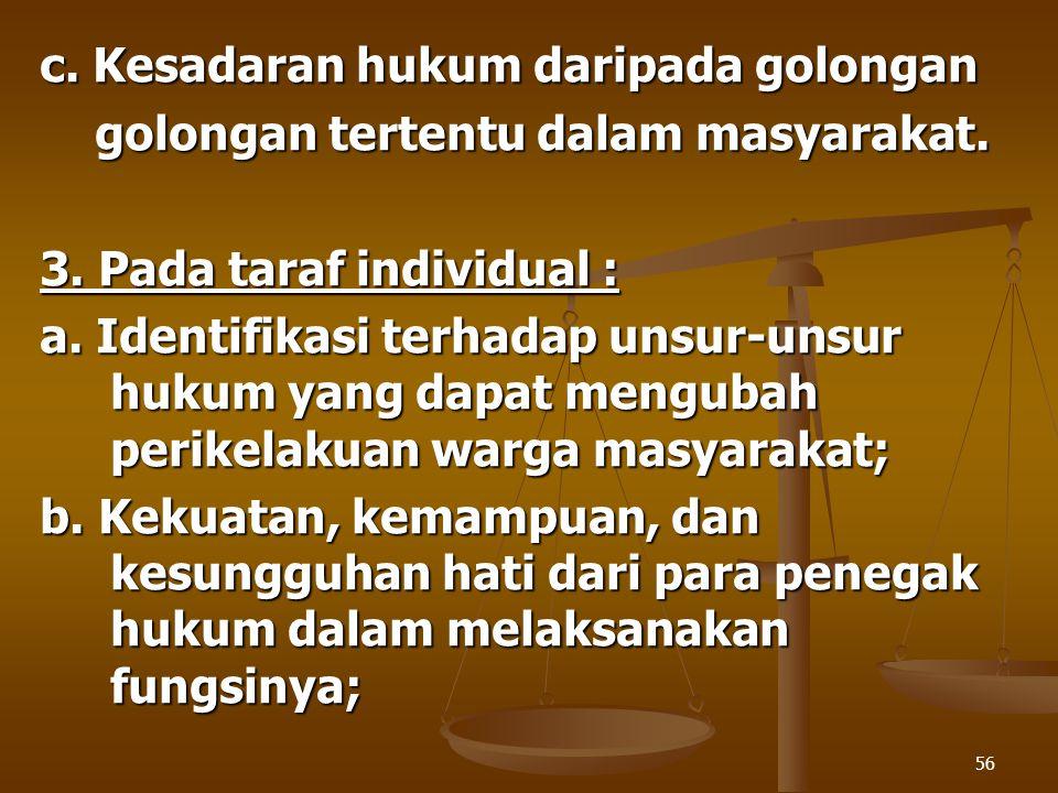56 c. Kesadaran hukum daripada golongan golongan tertentu dalam masyarakat. golongan tertentu dalam masyarakat. 3. Pada taraf individual : a. Identifi