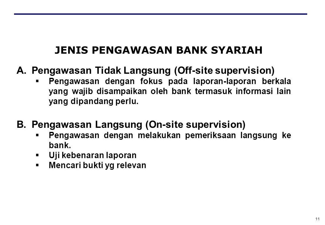 11 JENIS PENGAWASAN BANK SYARIAH A.Pengawasan Tidak Langsung (Off-site supervision)  Pengawasan dengan fokus pada laporan-laporan berkala yang wajib