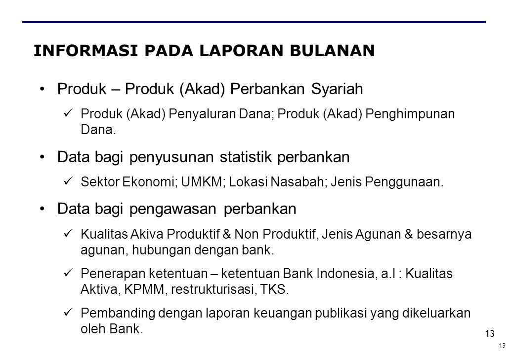 13 INFORMASI PADA LAPORAN BULANAN Produk – Produk (Akad) Perbankan Syariah Produk (Akad) Penyaluran Dana; Produk (Akad) Penghimpunan Dana. Data bagi p
