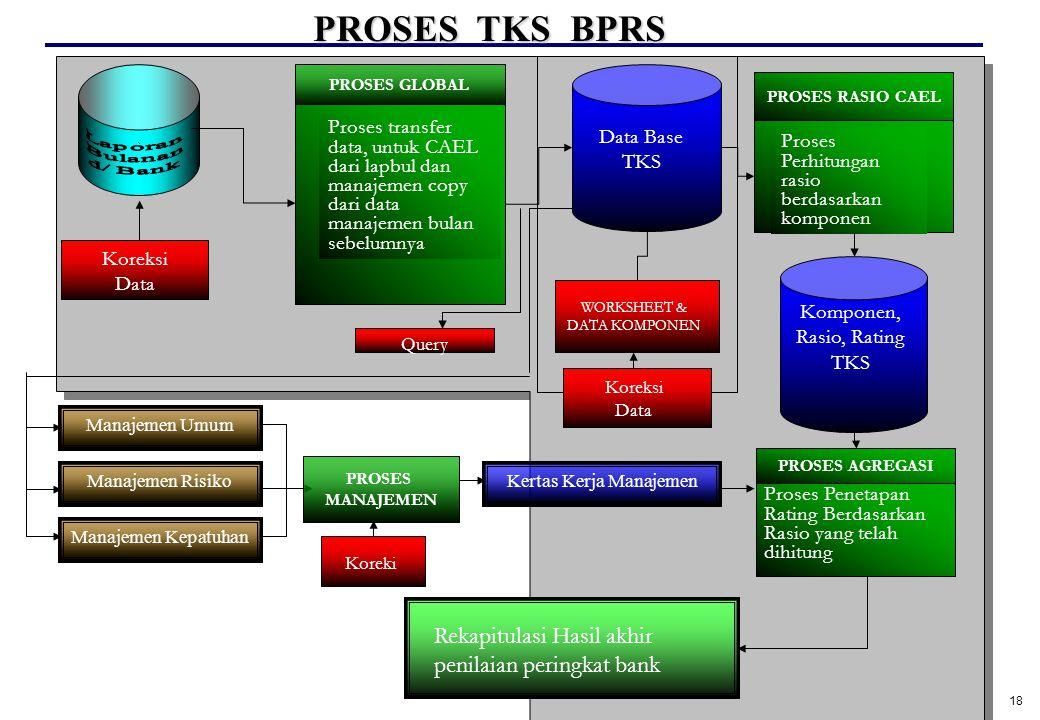 18 ` PROSES GLOBAL Proses transfer data, untuk CAEL dari lapbul dan manajemen copy dari data manajemen bulan sebelumnya Data Base TKS PROSES RASIO CAE