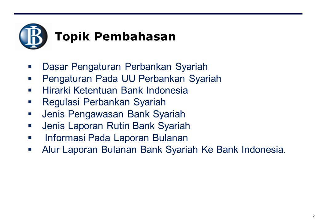2 Topik Pembahasan  Dasar Pengaturan Perbankan Syariah  Pengaturan Pada UU Perbankan Syariah  Hirarki Ketentuan Bank Indonesia  Regulasi Perbankan