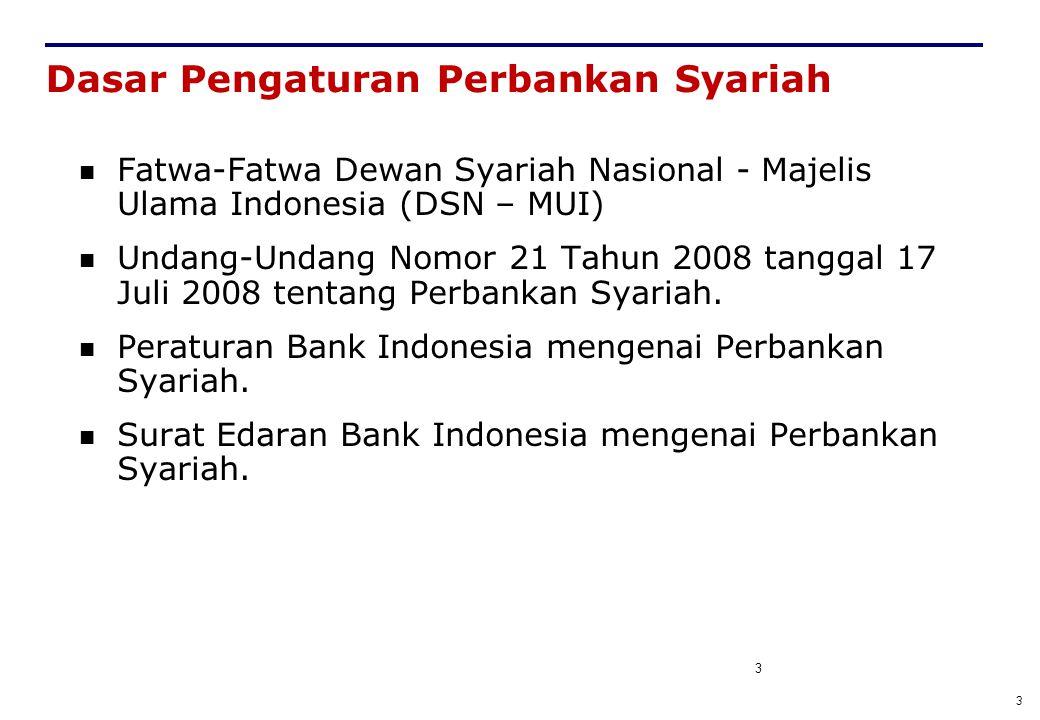 3 3 Dasar Pengaturan Perbankan Syariah Fatwa-Fatwa Dewan Syariah Nasional - Majelis Ulama Indonesia (DSN – MUI) Undang-Undang Nomor 21 Tahun 2008 tang