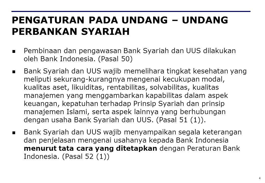 4 PENGATURAN PADA UNDANG – UNDANG PERBANKAN SYARIAH Pembinaan dan pengawasan Bank Syariah dan UUS dilakukan oleh Bank Indonesia. (Pasal 50) Bank Syari