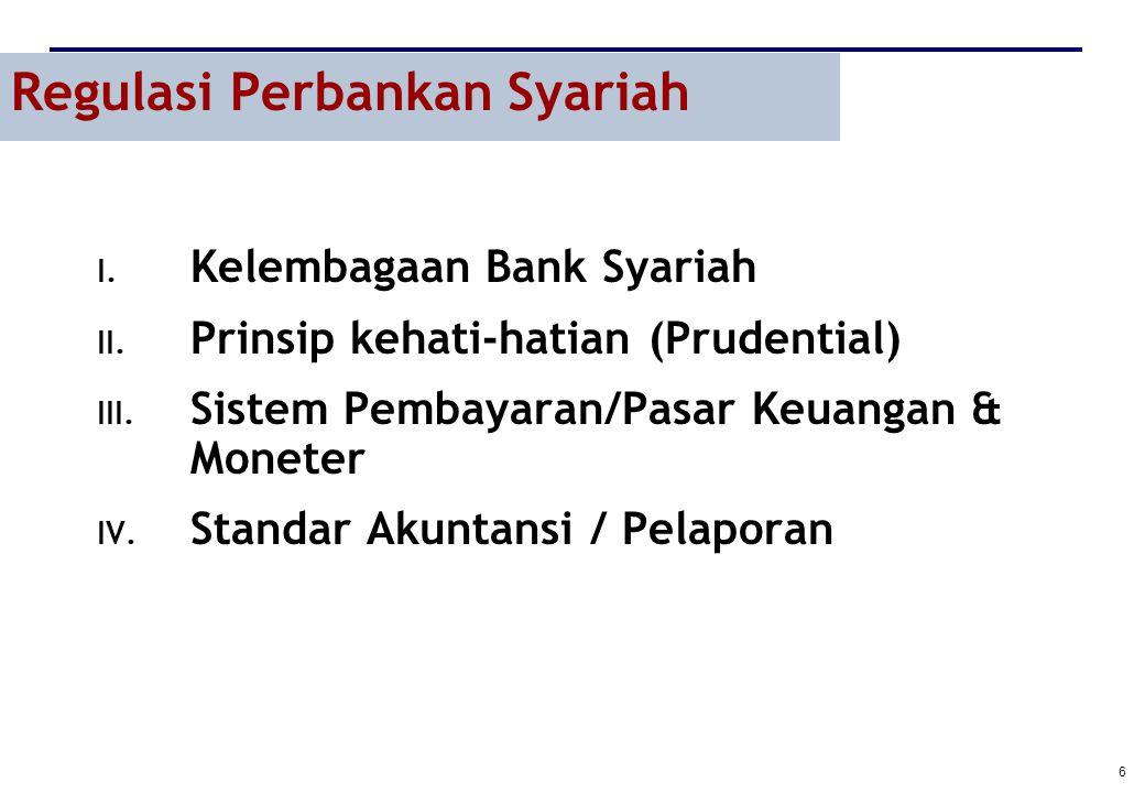 6 Regulasi Perbankan Syariah I. Kelembagaan Bank Syariah II. Prinsip kehati-hatian (Prudential) III. Sistem Pembayaran/Pasar Keuangan & Moneter IV. St