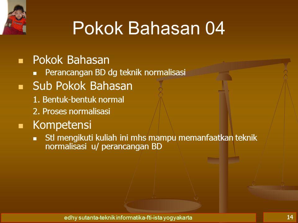 edhy sutanta-teknik informatika-fti-ista yogyakarta 14 Pokok Bahasan 04 Pokok Bahasan Perancangan BD dg teknik normalisasi Sub Pokok Bahasan 1.