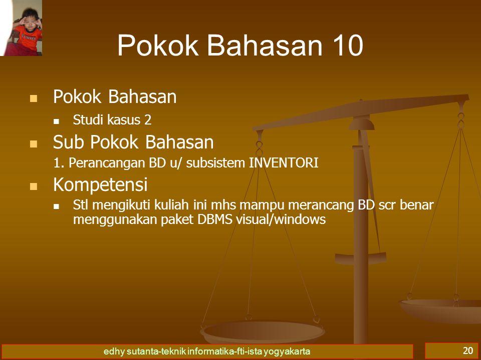 edhy sutanta-teknik informatika-fti-ista yogyakarta 20 Pokok Bahasan 10 Pokok Bahasan Studi kasus 2 Sub Pokok Bahasan 1.
