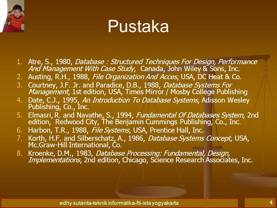 edhy sutanta-teknik informatika-fti-ista yogyakarta 4 Pustaka 1. 1.Atre, S., 1980, Database : Structured Techniques For Design, Performance And Manage