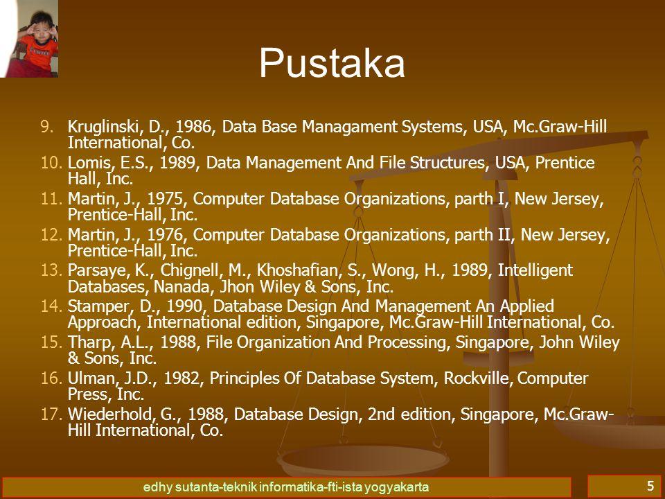 edhy sutanta-teknik informatika-fti-ista yogyakarta 5 9. 9.Kruglinski, D., 1986, Data Base Managament Systems, USA, Mc.Graw-Hill International, Co. 10
