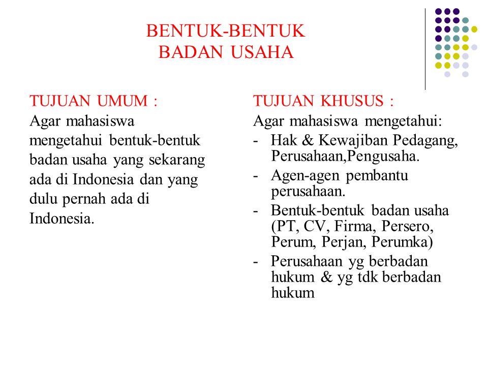 BENTUK-BENTUK BADAN USAHA TUJUAN UMUM : Agar mahasiswa mengetahui bentuk-bentuk badan usaha yang sekarang ada di Indonesia dan yang dulu pernah ada di