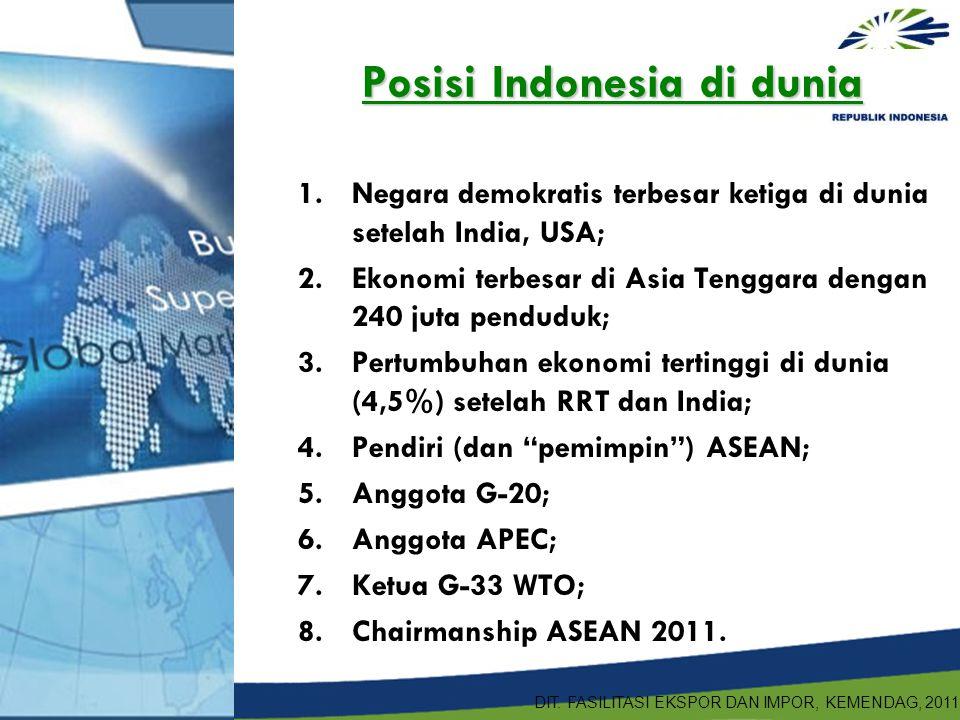 Posisi Indonesia di dunia 1.Negara demokratis terbesar ketiga di dunia setelah India, USA; 2.Ekonomi terbesar di Asia Tenggara dengan 240 juta pendudu