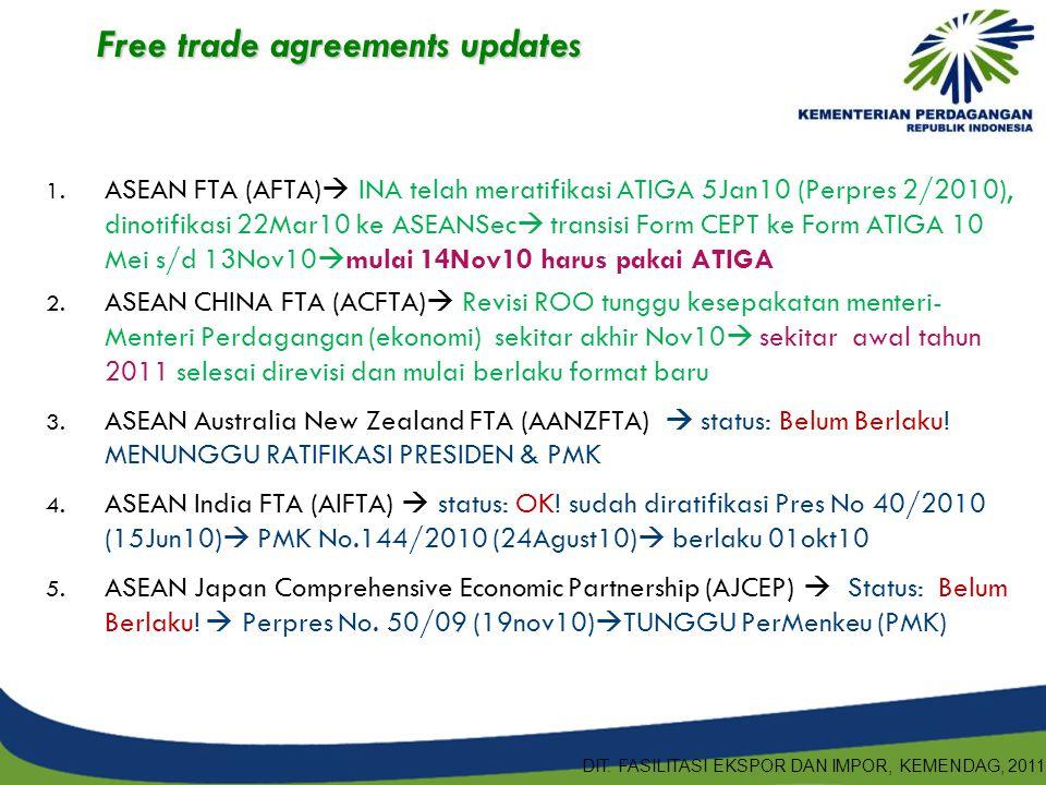 1. ASEAN FTA (AFTA)  INA telah meratifikasi ATIGA 5Jan10 (Perpres 2/2010), dinotifikasi 22Mar10 ke ASEANSec  transisi Form CEPT ke Form ATIGA 10 Mei