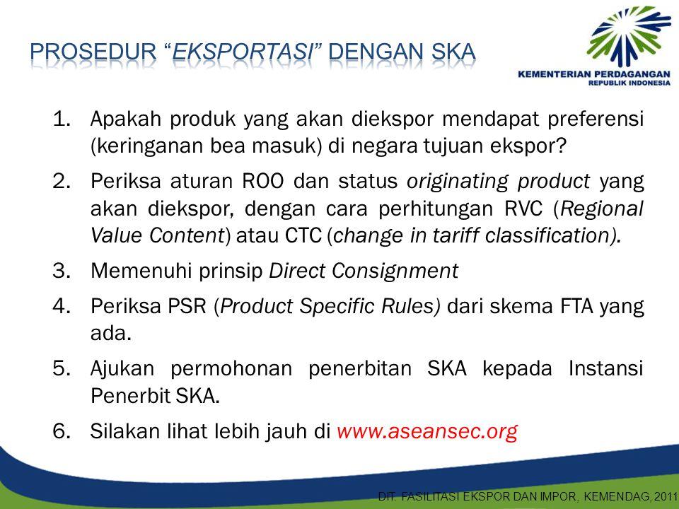 1.Apakah produk yang akan diekspor mendapat preferensi (keringanan bea masuk) di negara tujuan ekspor? 2.Periksa aturan ROO dan status originating pro