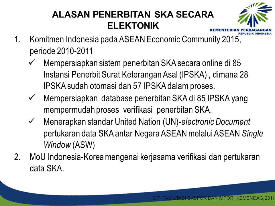 1.Komitmen Indonesia pada ASEAN Economic Community 2015, periode 2010-2011 Mempersiapkan sistem penerbitan SKA secara online di 85 Instansi Penerbit S