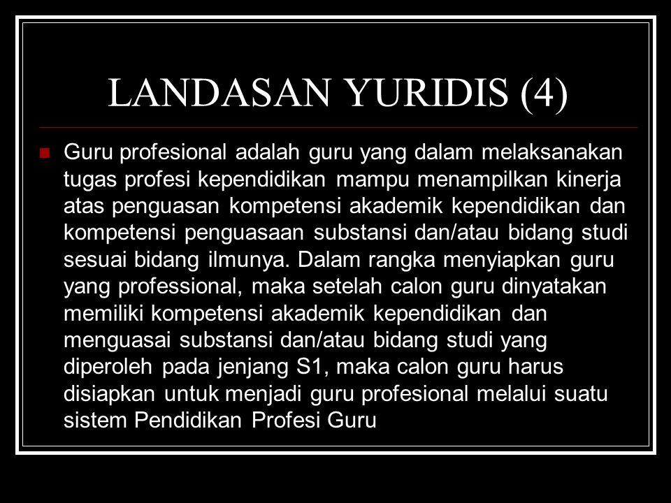 LANDASAN YURIDIS (4) Guru profesional adalah guru yang dalam melaksanakan tugas profesi kependidikan mampu menampilkan kinerja atas penguasan kompeten