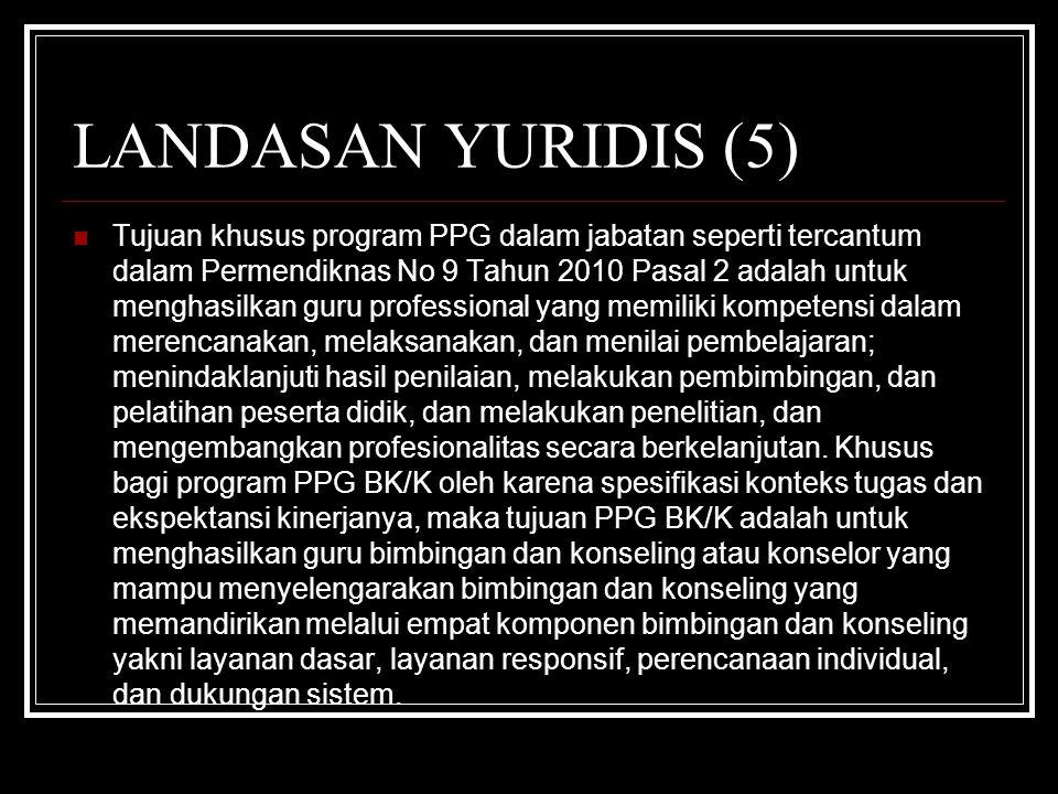 LANDASAN YURIDIS (5) Tujuan khusus program PPG dalam jabatan seperti tercantum dalam Permendiknas No 9 Tahun 2010 Pasal 2 adalah untuk menghasilkan gu