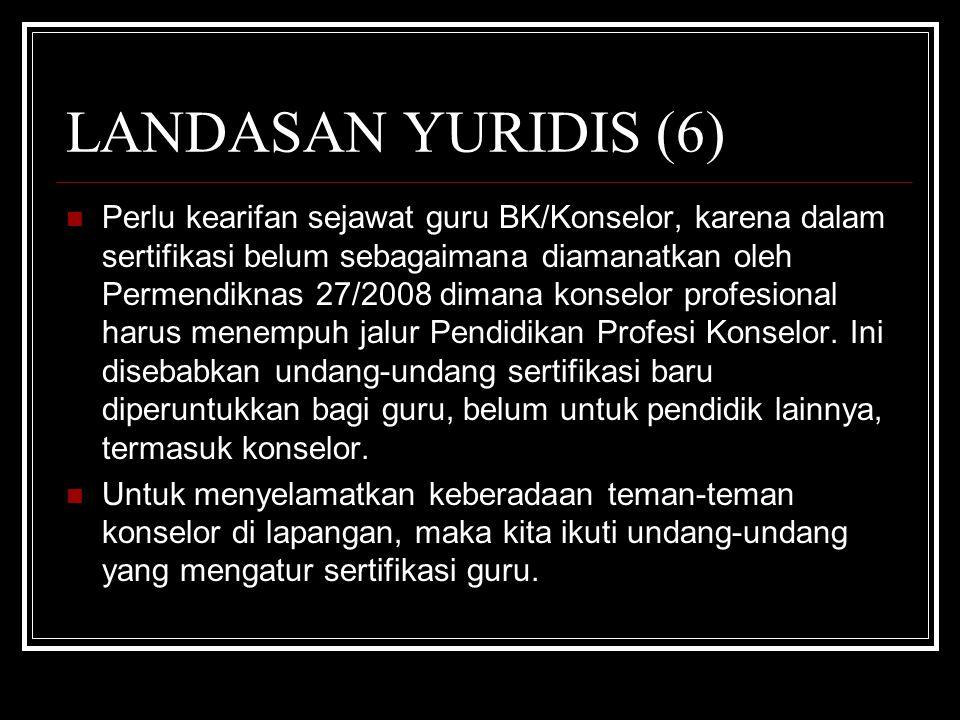LANDASAN YURIDIS (6) Perlu kearifan sejawat guru BK/Konselor, karena dalam sertifikasi belum sebagaimana diamanatkan oleh Permendiknas 27/2008 dimana