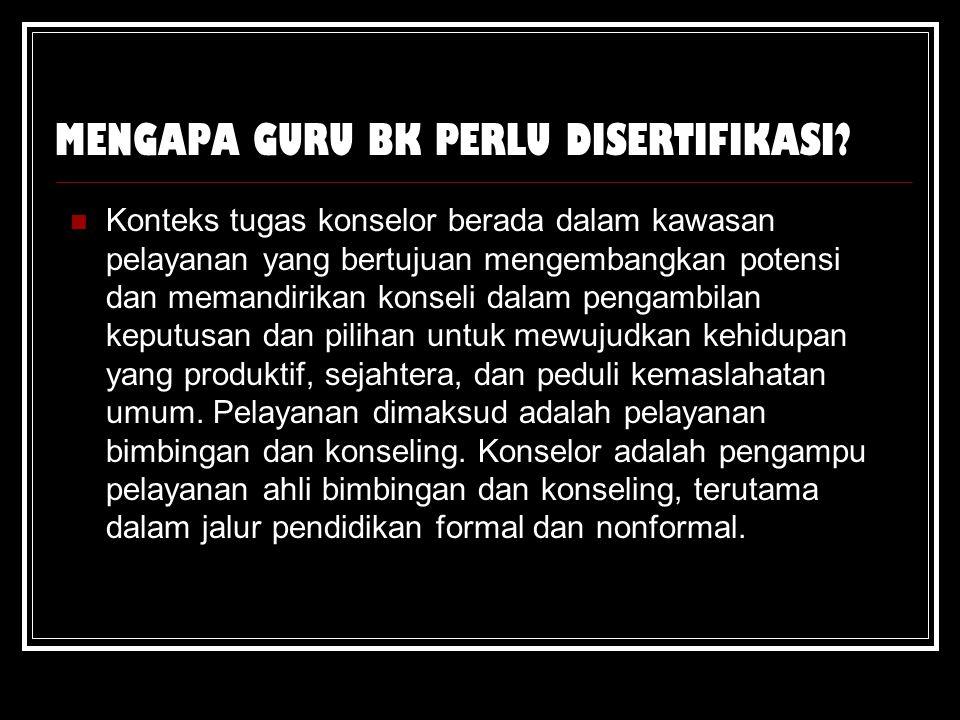 MENGAPA GURU BK PERLU DISERTIFIKASI.