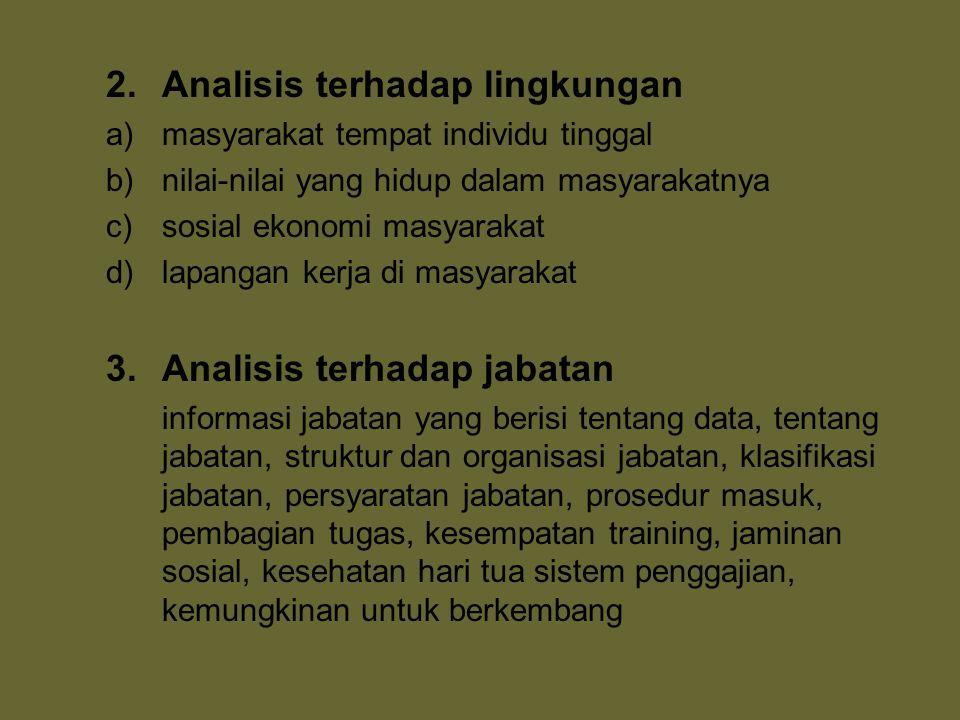 2. Analisis terhadap lingkungan a)masyarakat tempat individu tinggal b)nilai-nilai yang hidup dalam masyarakatnya c)sosial ekonomi masyarakat d)lapang