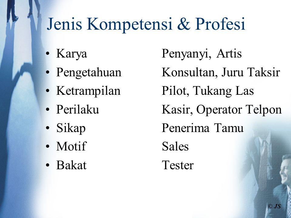 Sistem MSDM-BK Terpadu Kompensasi Pelatihan & pengembangan Perencanaan suksesi Rekrutmen Seleksi Performansi Jalur karir Evaluasi dan Job desain Informasi : -Jabatan : kompetensi yang dibutuhkan -Individu : kompetensi yang dimiliki © JS