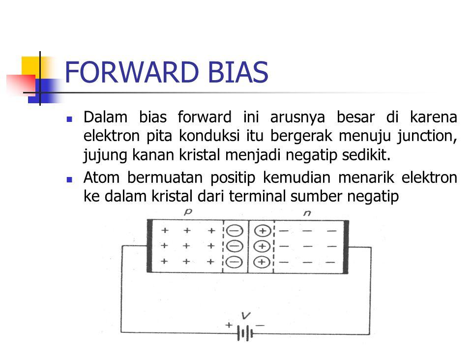 FORWARD BIAS Dalam bias forward ini arusnya besar di karena elektron pita konduksi itu bergerak menuju junction, jujung kanan kristal menjadi negatip sedikit.