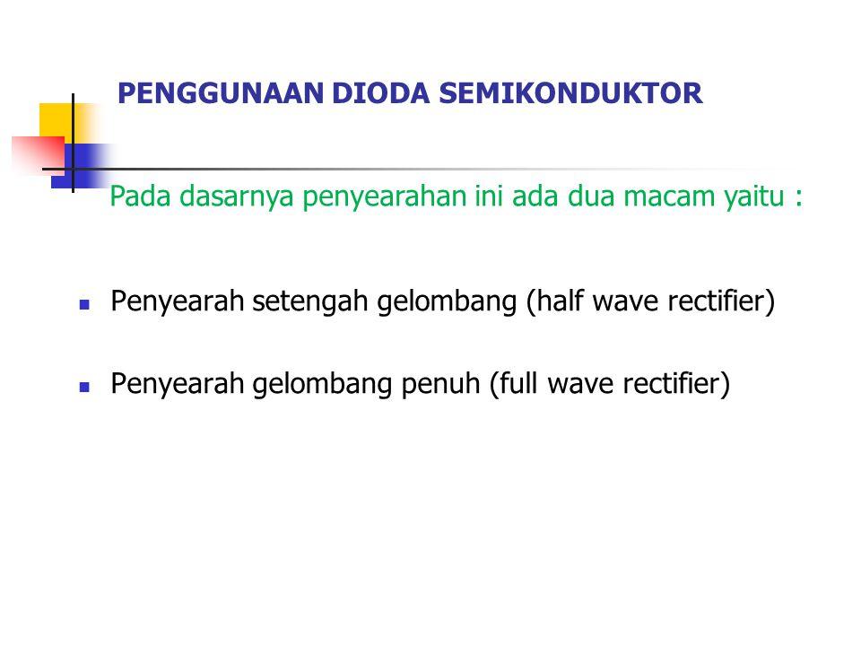 PENGGUNAAN DIODA SEMIKONDUKTOR Penyearah setengah gelombang (half wave rectifier) Penyearah gelombang penuh (full wave rectifier) Pada dasarnya penyearahan ini ada dua macam yaitu :