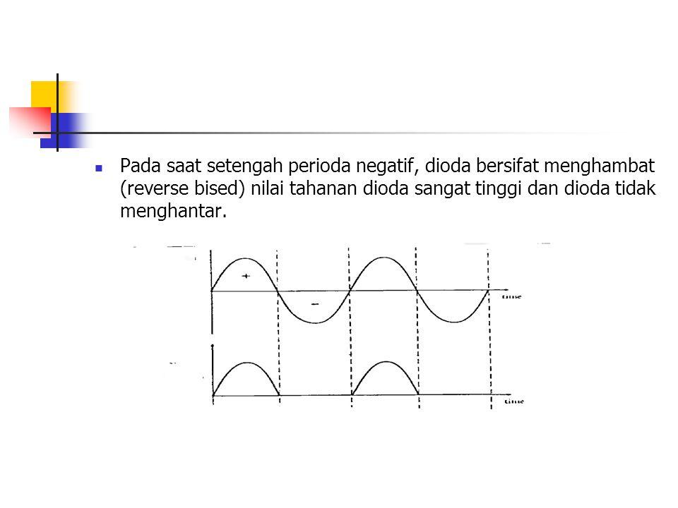 Pada saat setengah perioda negatif, dioda bersifat menghambat (reverse bised) nilai tahanan dioda sangat tinggi dan dioda tidak menghantar.