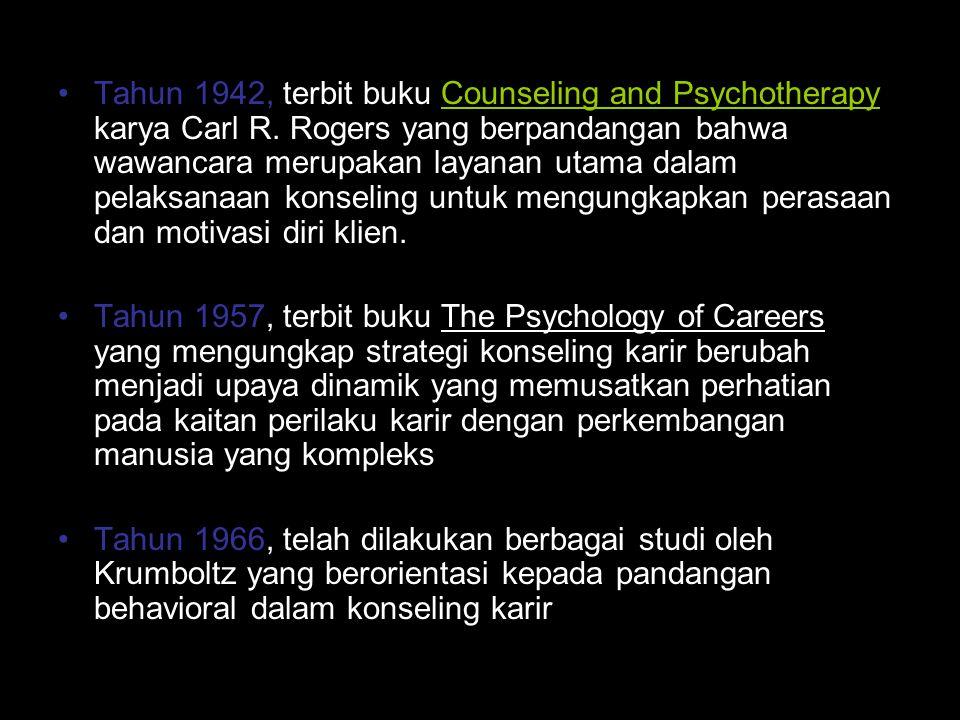 Tahun 1942, terbit buku Counseling and Psychotherapy karya Carl R. Rogers yang berpandangan bahwa wawancara merupakan layanan utama dalam pelaksanaan