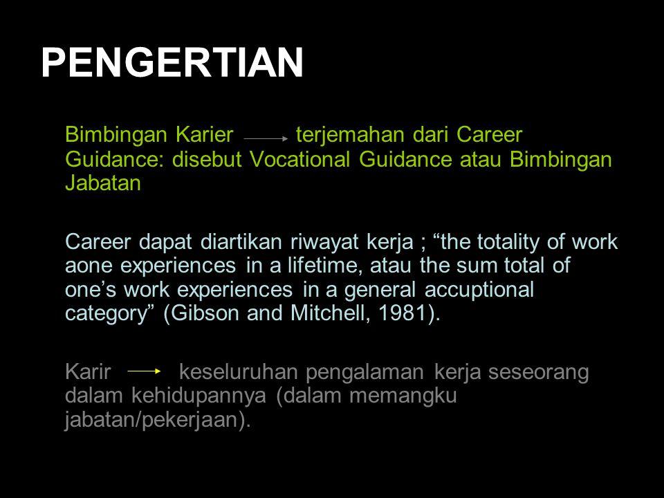 PENGERTIAN Bimbingan Karier terjemahan dari Career Guidance: disebut Vocational Guidance atau Bimbingan Jabatan Career dapat diartikan riwayat kerja ;