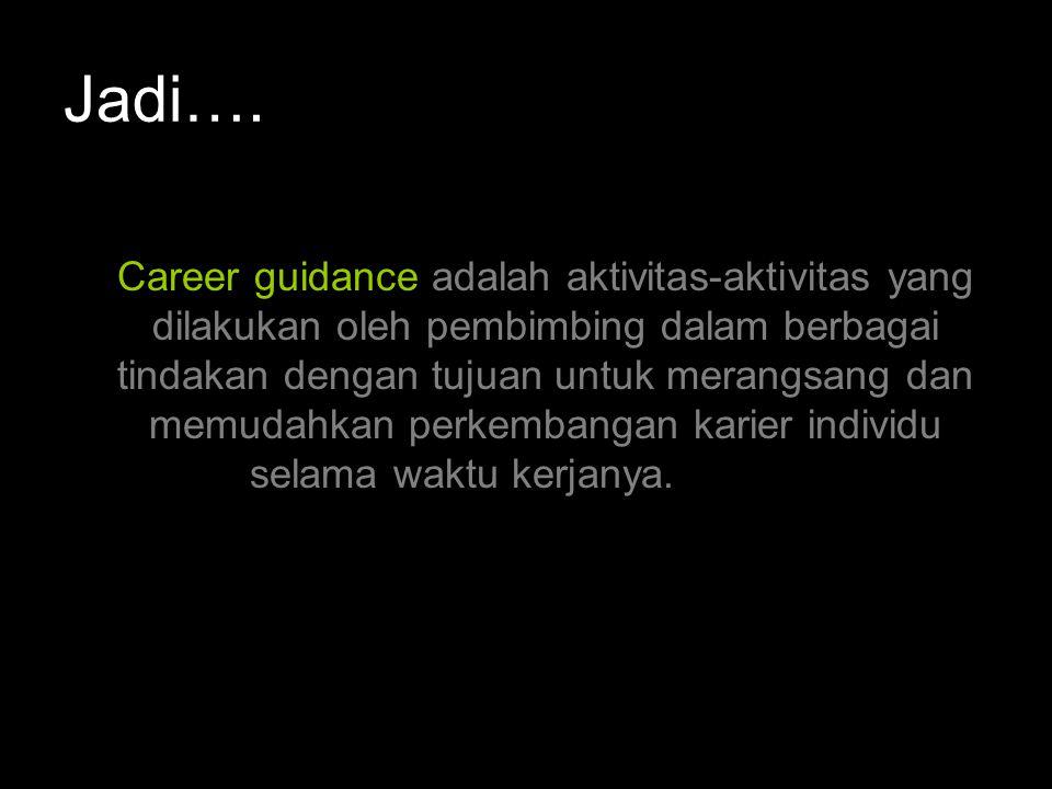 Istilah dalam Bimbingan Karier 1.Vocational Guidance suatu proses memberi bantuan kepada individu untuk memilih suatu jabatan (pekerjaan), mempersiapkan, memangku, dan mengembangkan diri dalam pekerjaan tersebut (Blum and Balinsky, 1973).