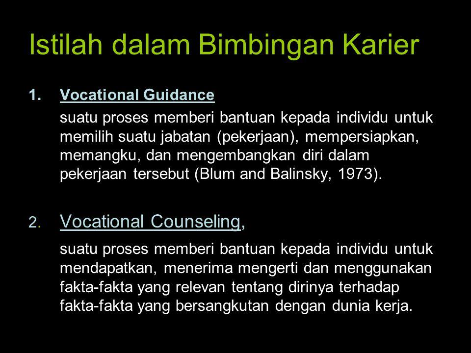 Istilah dalam Bimbingan Karier 1.Vocational Guidance suatu proses memberi bantuan kepada individu untuk memilih suatu jabatan (pekerjaan), mempersiapk
