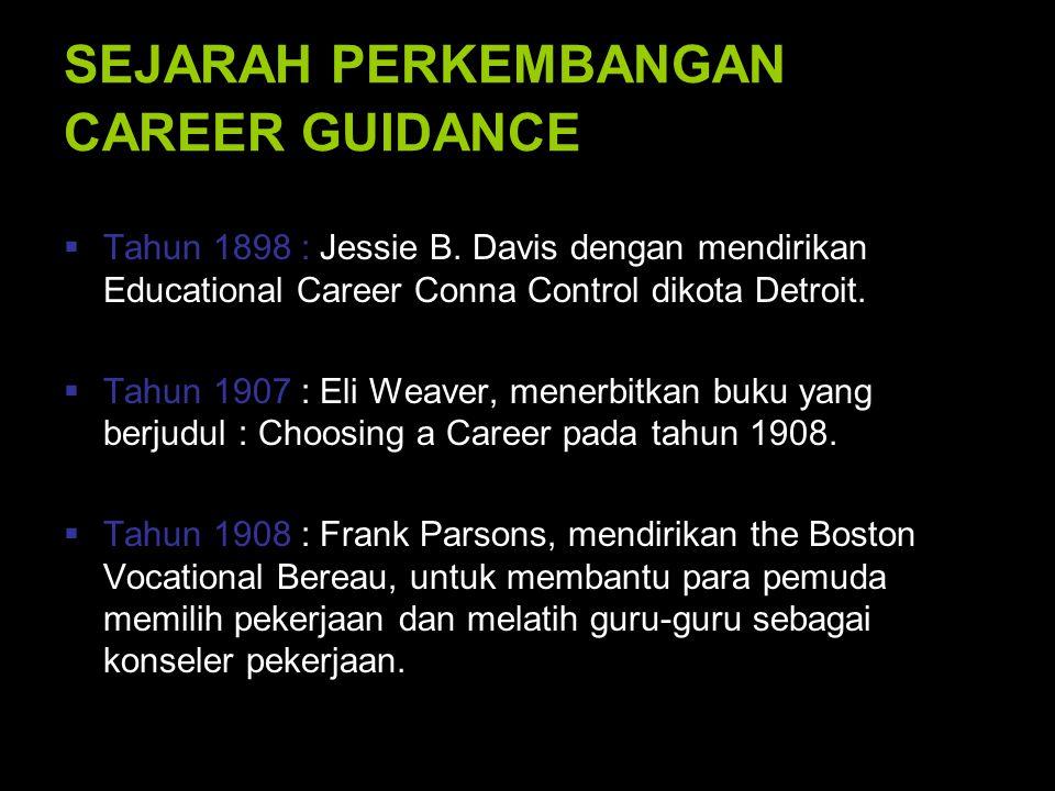 Kecenderungan berkenaan dengan penyuluhan karir : 1.Pendekatan Parsons yang mewarnai teori dan pelaksanaan penyuluhan karir yang disebut model Trait and Factor.