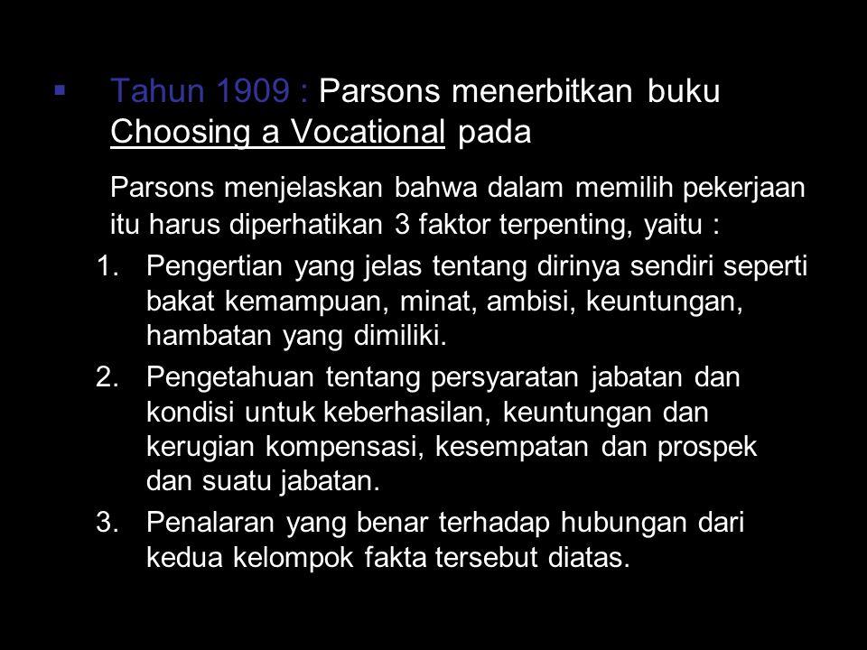  Tahun 1909 : Parsons menerbitkan buku Choosing a Vocational pada Parsons menjelaskan bahwa dalam memilih pekerjaan itu harus diperhatikan 3 faktor t