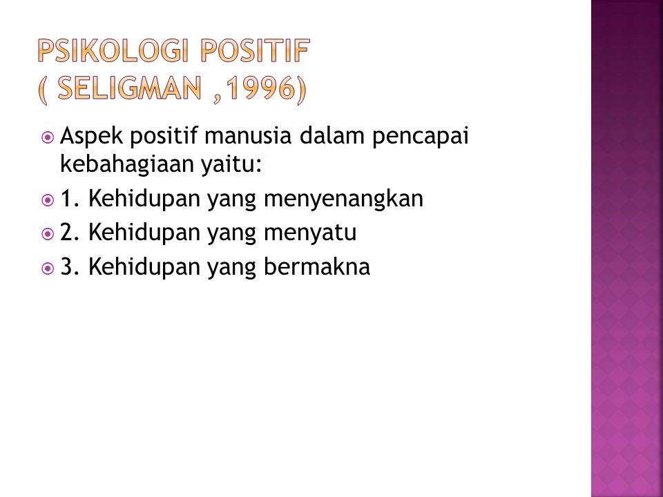  Aspek positif manusia dalam pencapai kebahagiaan yaitu:  1. Kehidupan yang menyenangkan  2. Kehidupan yang menyatu  3. Kehidupan yang bermakna