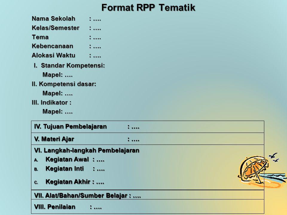 Format RPP Tematik Nama Sekolah: ….Kelas/Semester: ….