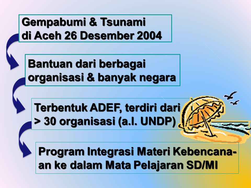 Bantuan dari berbagai organisasi & banyak negara Terbentuk ADEF, terdiri dari > 30 organisasi (a.l.