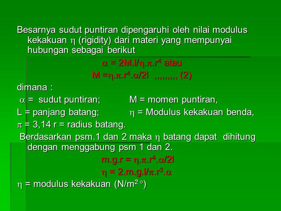 Besarnya sudut puntiran dipengaruhi oleh nilai modulus kekakuan  (rigidity) dari materi yang mempunyai hubungan sebagai berikut  = 2M.l/ . .r 4 at