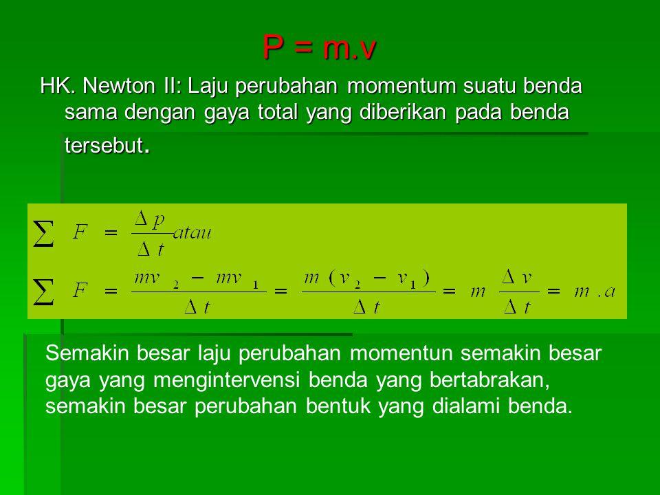 P = m.v HK. Newton II: Laju perubahan momentum suatu benda sama dengan gaya total yang diberikan pada benda tersebut. Semakin besar laju perubahan mom