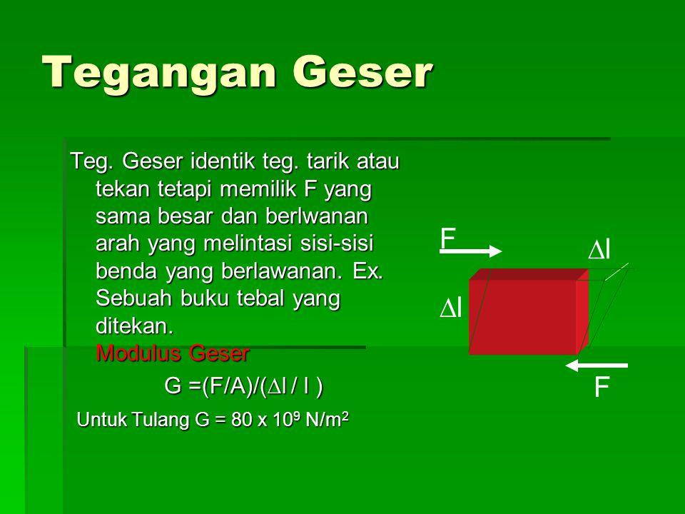 Tegangan Geser Teg. Geser identik teg. tarik atau tekan tetapi memilik F yang sama besar dan berlwanan arah yang melintasi sisi-sisi benda yang berlaw