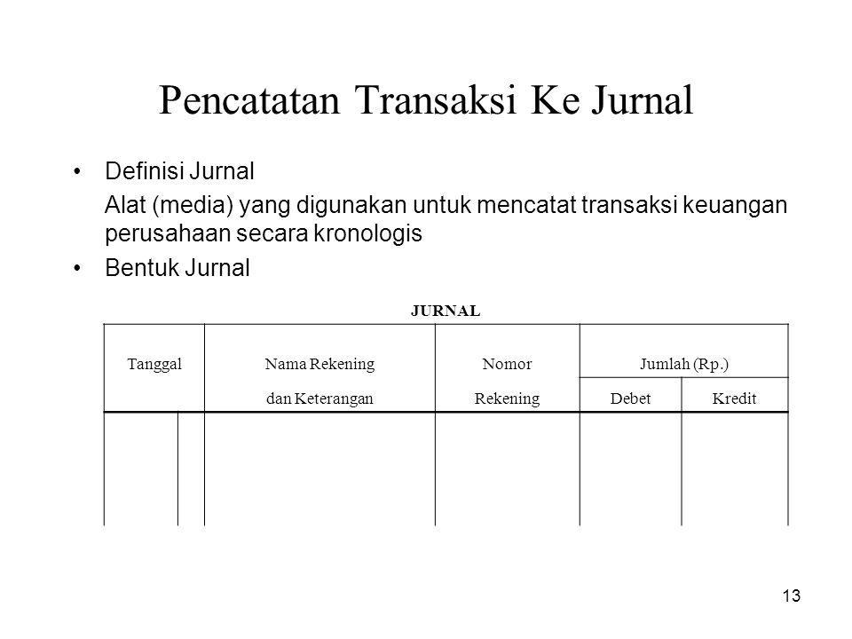 13 Pencatatan Transaksi Ke Jurnal Definisi Jurnal Alat (media) yang digunakan untuk mencatat transaksi keuangan perusahaan secara kronologis Bentuk Jurnal JURNAL TanggalNama RekeningNomorJumlah (Rp.) dan KeteranganRekeningDebetKredit