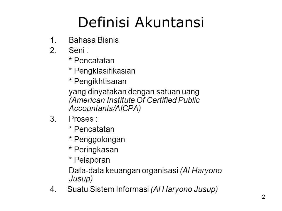 2 Definisi Akuntansi 1.Bahasa Bisnis 2.Seni : * Pencatatan * Pengklasifikasian * Pengikhtisaran yang dinyatakan dengan satuan uang (American Institute Of Certified Public Accountants/AICPA) 3.