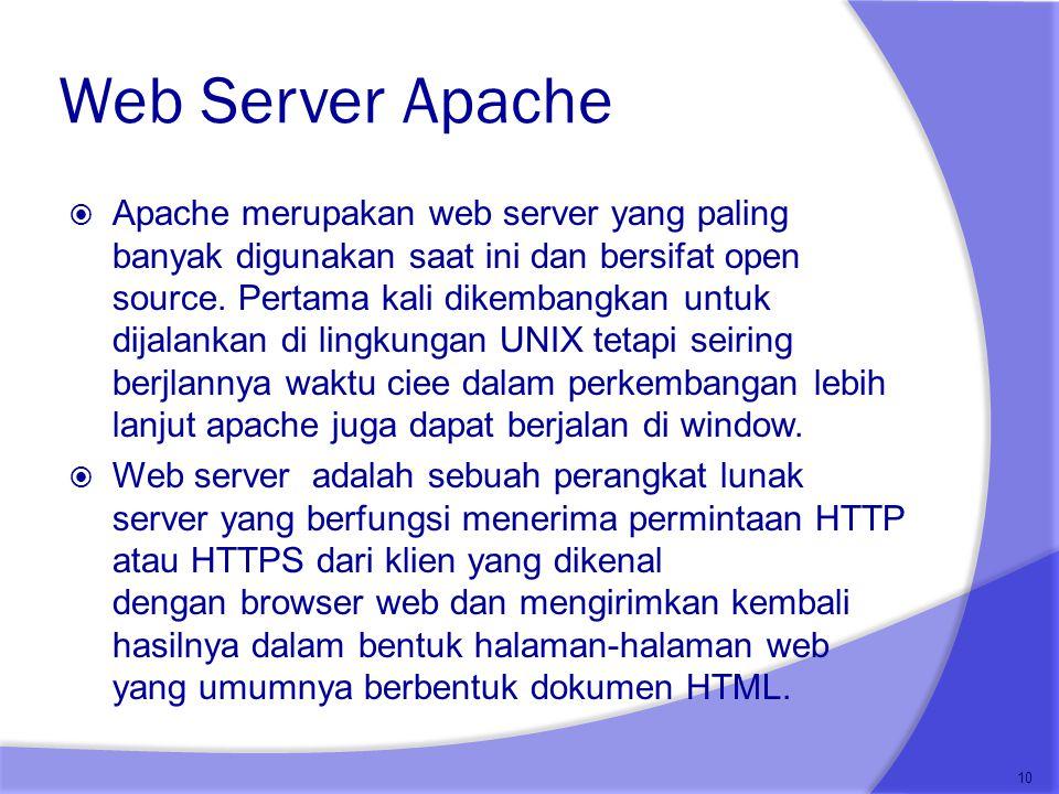 Web Server Apache  Apache merupakan web server yang paling banyak digunakan saat ini dan bersifat open source. Pertama kali dikembangkan untuk dijala