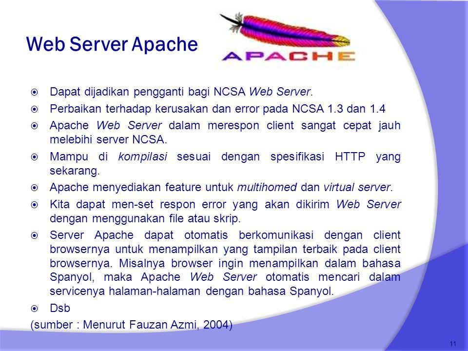 Web Server Apache  Dapat dijadikan pengganti bagi NCSA Web Server.  Perbaikan terhadap kerusakan dan error pada NCSA 1.3 dan 1.4  Apache Web Server
