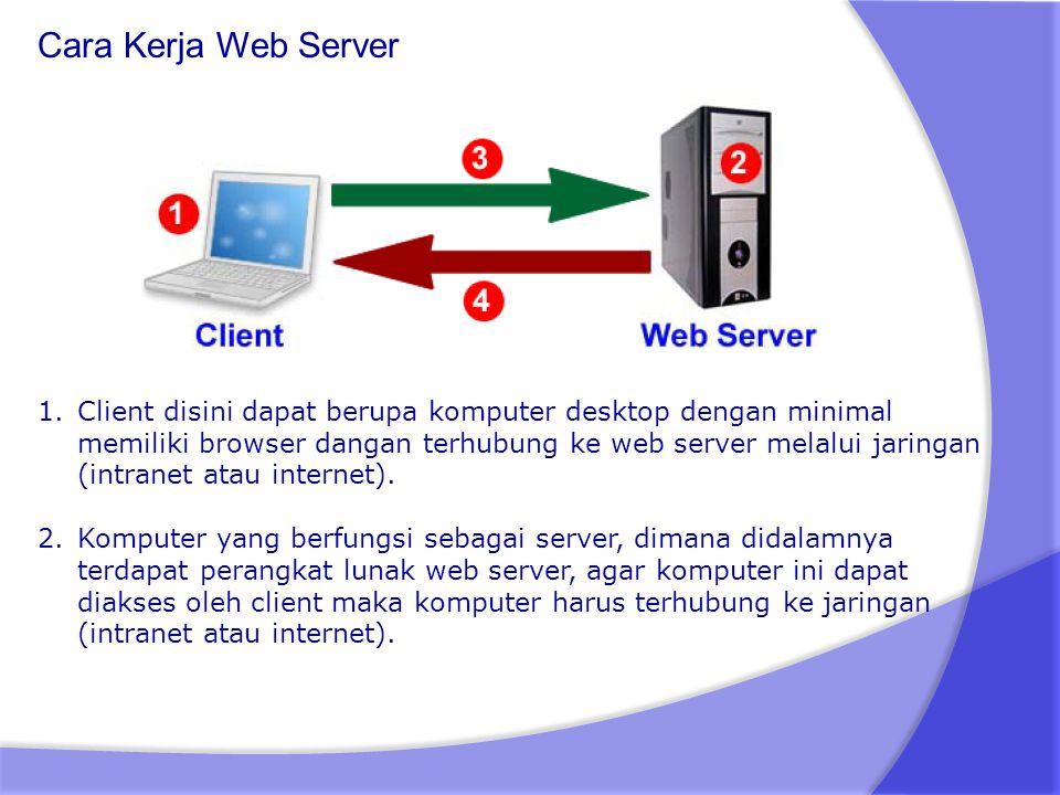 Cara Kerja Web Server 1.Client disini dapat berupa komputer desktop dengan minimal memiliki browser dangan terhubung ke web server melalui jaringan (i