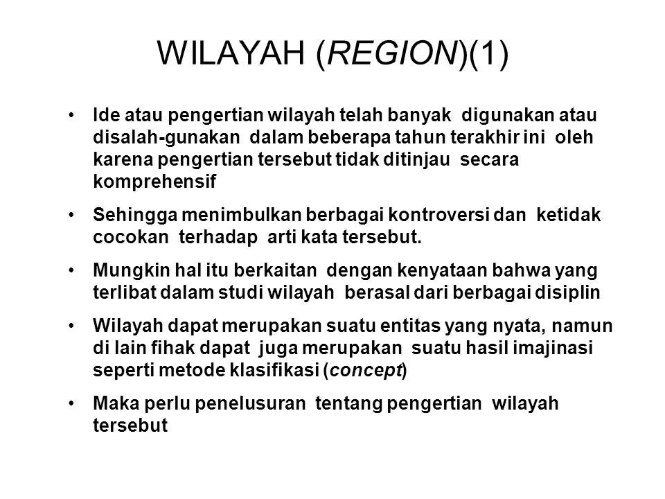 WILAYAH (REGION)(1) Ide atau pengertian wilayah telah banyak digunakan atau disalah-gunakan dalam beberapa tahun terakhir ini oleh karena pengertian t