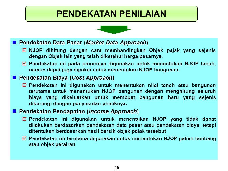 15 Pendekatan Data Pasar (Market Data Approach) Pendekatan Data Pasar (Market Data Approach)  NJOP dihitung dengan cara membandingkan Objek pajak yan