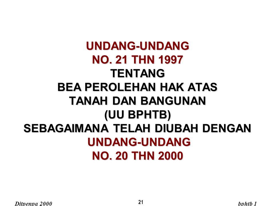 21 UNDANG-UNDANG NO. 21 THN 1997 TENTANG BEA PEROLEHAN HAK ATAS TANAH DAN BANGUNAN (UU BPHTB) SEBAGAIMANA TELAH DIUBAH DENGAN UNDANG-UNDANG NO. 20 THN