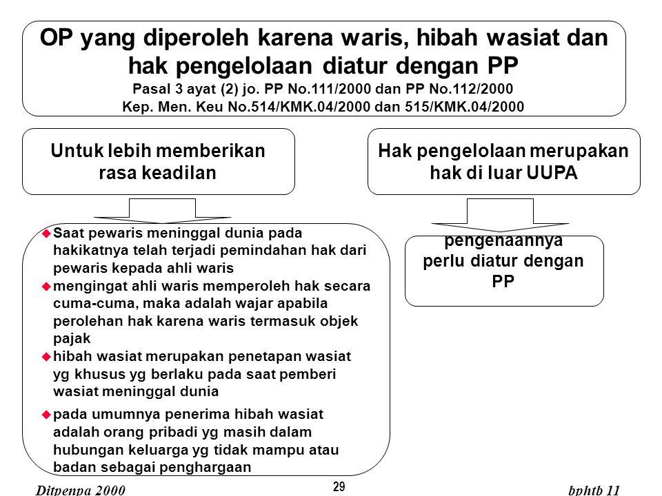29 OP yang diperoleh karena waris, hibah wasiat dan hak pengelolaan diatur dengan PP Pasal 3 ayat (2) jo. PP No.111/2000 dan PP No.112/2000 Kep. Men.