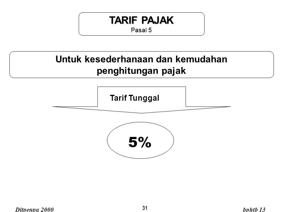 31 5% TARIF PAJAK Pasal 5 Untuk kesederhanaan dan kemudahan penghitungan pajak Tarif Tunggal Ditpenpa 2000bphtb 13