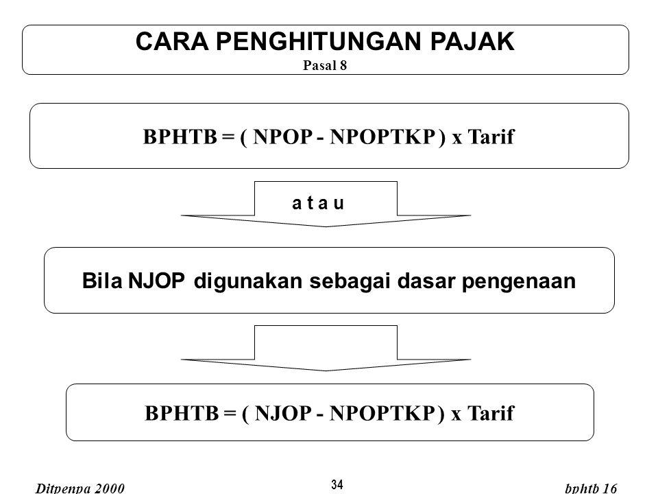 34 BPHTB = ( NJOP - NPOPTKP ) x Tarif BPHTB = ( NPOP - NPOPTKP ) x Tarif CARA PENGHITUNGAN PAJAK Pasal 8 a t a u Bila NJOP digunakan sebagai dasar pen