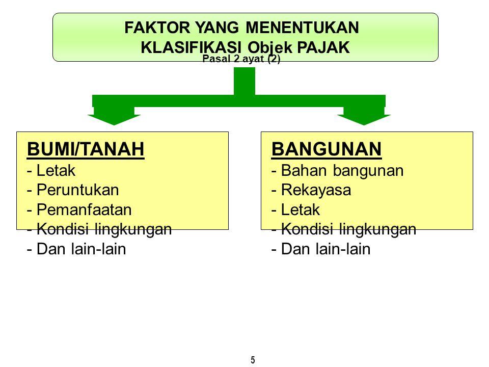 5 FAKTOR YANG MENENTUKAN KLASIFIKASI Objek PAJAK Pasal 2 ayat (2) BUMI/TANAH - Letak - Peruntukan - Pemanfaatan - Kondisi lingkungan - Dan lain-lain B